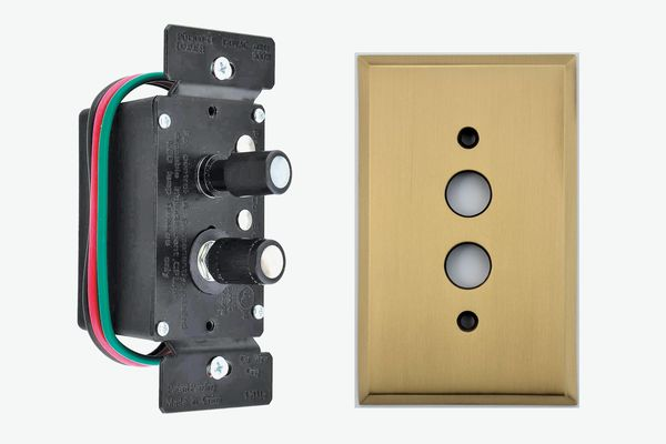 Push-Button Dimmer Switch and Brass Wall Plate