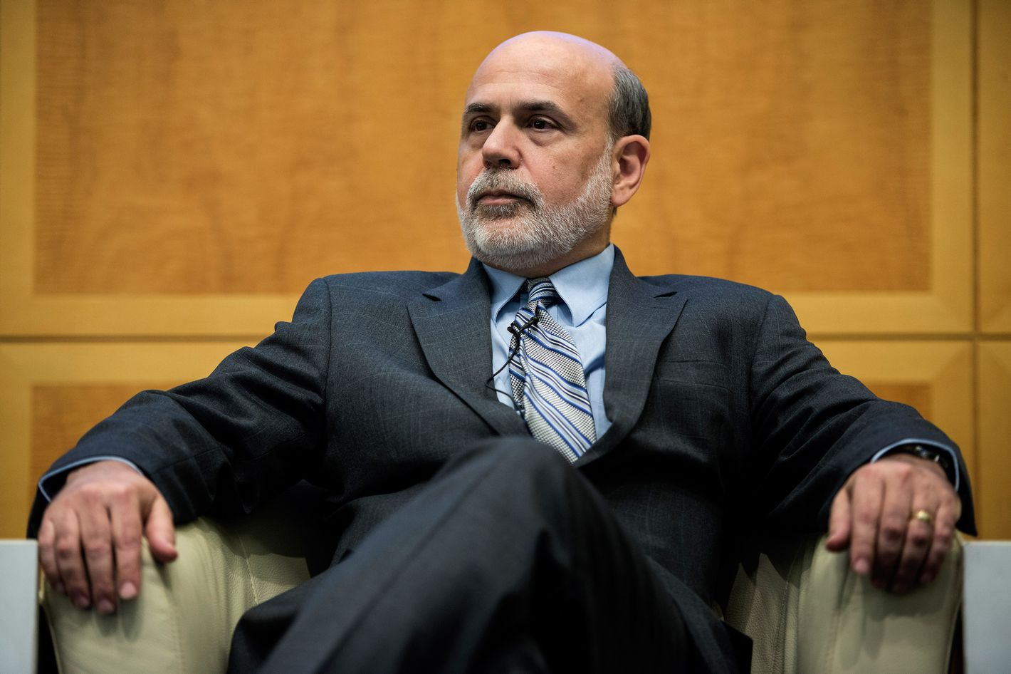 Federal Reserve Chairman Ben Bernanke listens during the Jacques Polak Research Conference at the headquarters of the International Monetary Fund on November 8, 2013 in Washington, DC. Bernanke and others attended the event to speak about the economy and the financial crisis.