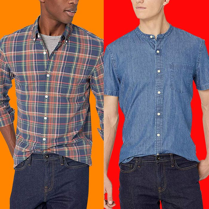 Three male models wearing button down shirts and dark wash jeans on orange, blood orange, and red backgrounds. From left, a long sleeve white collared shirt with faded blue stripes starting halfway down and a breast pocket, a white, blue, green, and orange plaid collared button down over a grey crew neck tshirt, and a blue denim collarless button-down with a breast pocket