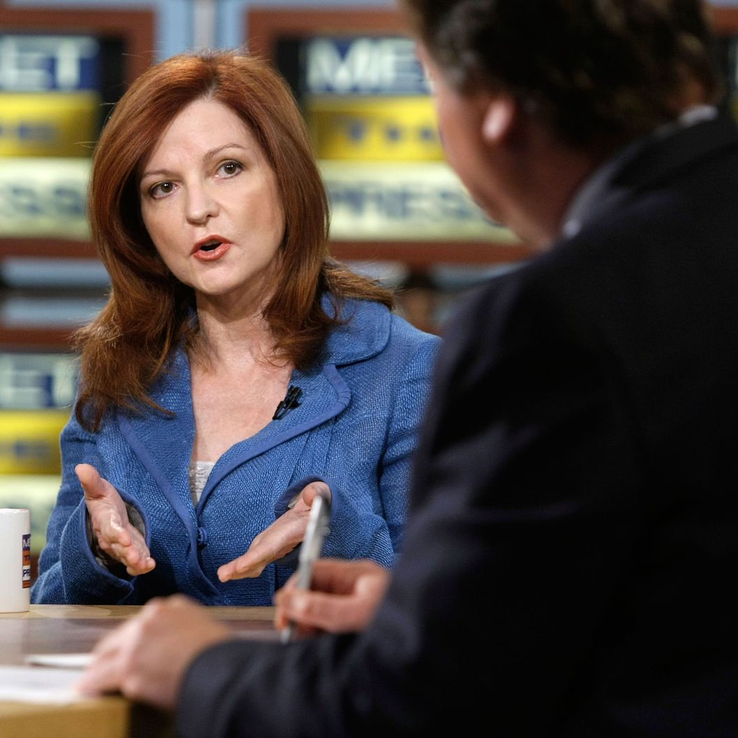 "New York Times columnist Maureen Dowd speaks during a taping of ""Meet the Press"" at the NBC studios May 25, 2008 in Washington, DC. Dowd discussed topics related to the presidential election in November, 2008."