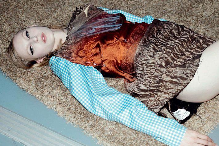 Julia Nobis wearing Prada in Document Journal's seventh issue, shot by Willy Vanderperre.
