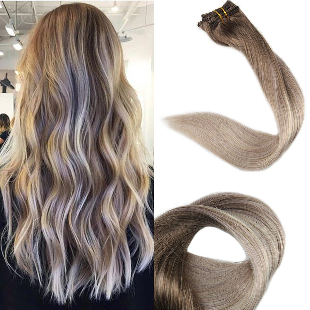 "Full Shine Remy Clip in Hair Extensions Ombre Balyage Color, 14"", 100g 10 Pcs"