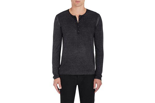 John Varvatos Silk Cashmere Henley Shirt