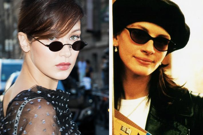 Bella Hadid and Julia Roberts, both wearing sunglasses — The Strategist reviews small-ish sunglasses for 2018.
