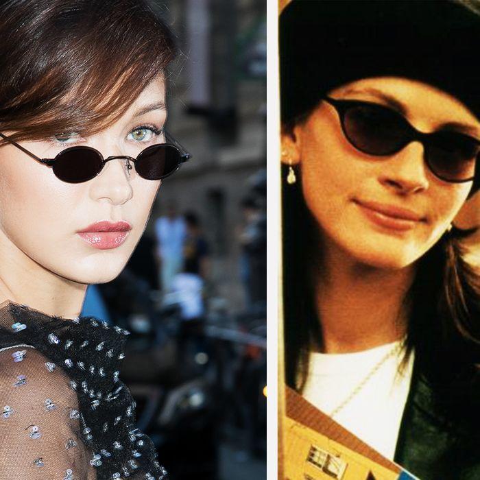 Bella Hadid and Julia Roberts, both wearing sunglasses — The Strategist reviews small-ish sunglasses for 2018.