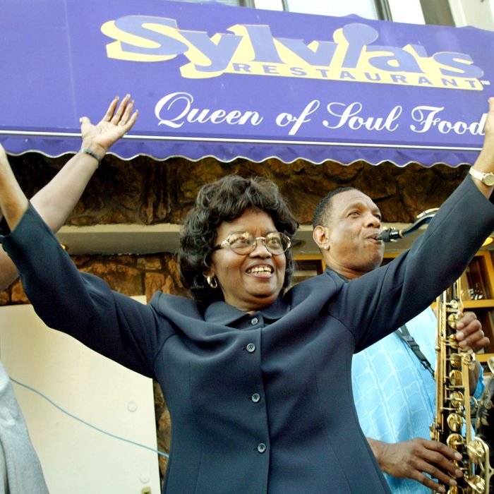 Woods, who died in July, at the 40th anniversary of her restaurant in 2002.
