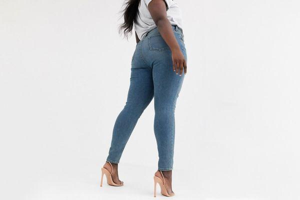 Uk Plus Size  18 20 22 24 26 28 New New Look Denim Dark Blue Skinny Jeans