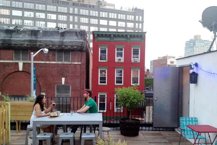 The roof deck feels more like a backyard.