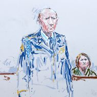 In this courtroom sketch, U.S. Army Staff Sgt. Robert Bales, left, stands in a military courtroom as his wife, Kari Bales, right, looks on, Wednesday, June 5, 2013, during a plea hearing at Joint Base Lewis McChord in Washington state. Robert Bales pleaded guilty to multiple counts of murder, stemming from a pre-dawn attack on two villages in Kandahar Province in Afghanistan in March, 2012. (AP Photo/Peter Millett) TV OUT