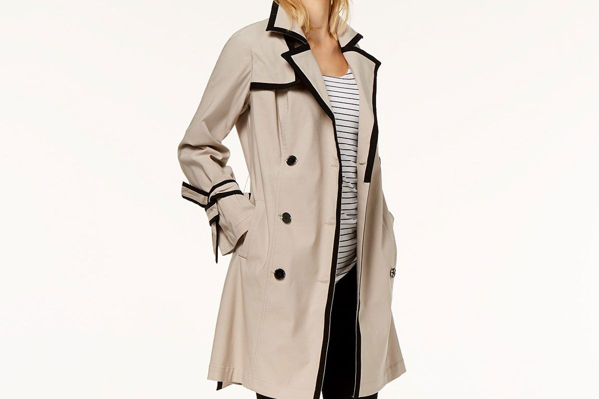 I.N.C. Contrast-Trim Belted Trench Coat