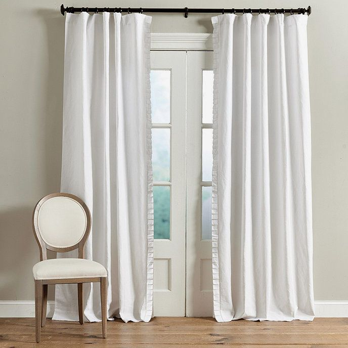 Vivienne Pleated Trim Linen Panel Set Of 2