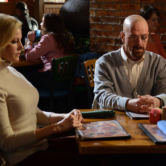 Skyler White (Anna Gunn) and Walter White (Bryan Cranston) - Breaking Bad _ Season 5, Episode 11 - Photo Credit: Ursula Coyote/AMC