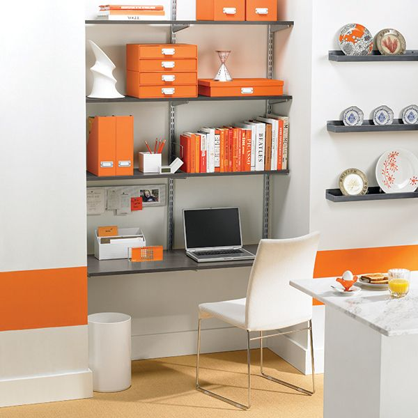 The Container Store Driftwood & Platinum Elfa Wall-Mounted Desk