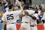 NEW YORK, NY - SEPTEMBER 21:  Mark Teixeira #25, Alex Rodriguez #13 and Robinson Cano #24 of the New York Yankees celebrate after defeating the Tampa Bay Rays on September 21, 2011 at Yankee Stadium in the Bronx borough of New York City.  (Photo by Jim McIsaac/Getty Images)