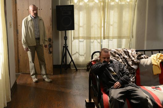 Walter White (Bryan Cranston) and Jesse Pinkman (Aaron Paul) - Breaking Bad _ Season 5, Episode 9 - Photo Credit: Ursula Coyote/AMC