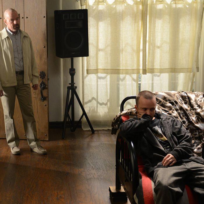 Walter White (Bryan Cranston) and Jesse Pinkman (Aaron Paul) - Breaking Bad _ Season 5, Episode 9 - Photo Credit: Ursula Coyote/AMC
