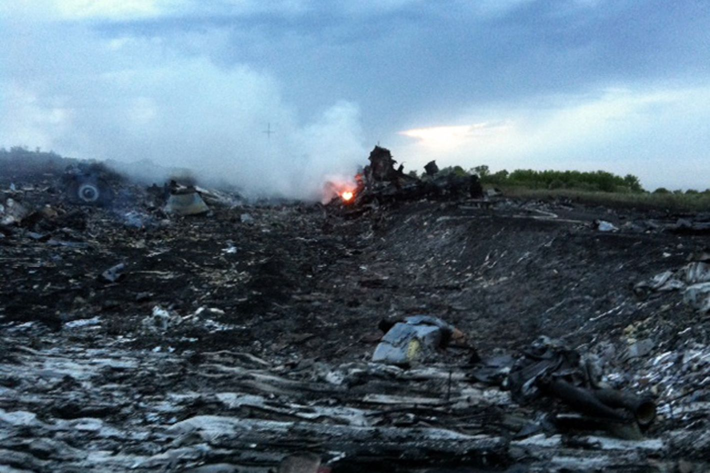 A picture taken on July 17, 2014 shows smoke and wreckage of the malaysian airliner carrying 295 people from Amsterdam to Kuala Lumpur after it crashed, in rebel-held east Ukraine. Pro-Russian rebels fighting central Kiev authorities claimed on Thursday that the Malaysian airline that crashed in Ukraine had been shot down by a Ukrainian jet.