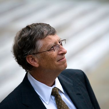 Microsoft co-founder turned global philanthropist Bill Gates speaks to the press after a meeting with French President at the Elysee Palace on October 10, 2012 in Paris.