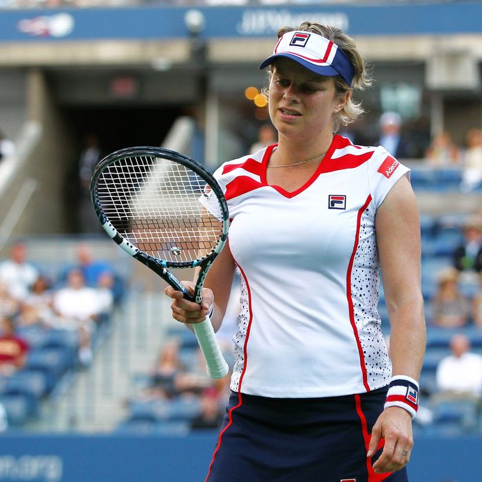 NEW YORK, NY - AUGUST 29: Kim Clijsters of Belgium reacts against Laura Robson of Great Britain during their women's singles second round match Day Three of the 2012 US Open at USTA Billie Jean King National Tennis Center on August 29, 2012 in the Flushing neigborhood of the Queens borough of New York City. (Photo by Michael Heiman/Getty Images)