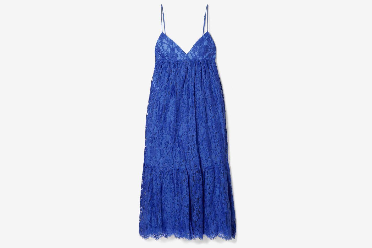 Michael Kors Collection Ruffled cotton-blend lace midi dress