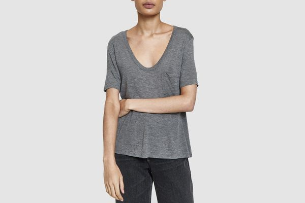 T by Alexander Wang Classic Cropped Tee in Heather Grey
