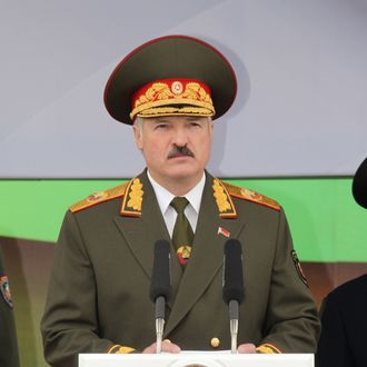 Belarus' President Alexander Lukashenko speaks on July 3, 2011 in Minsk during a military parade in celebration of Independence Day marking the anniversary of the end of Nazi occupation in 1944.