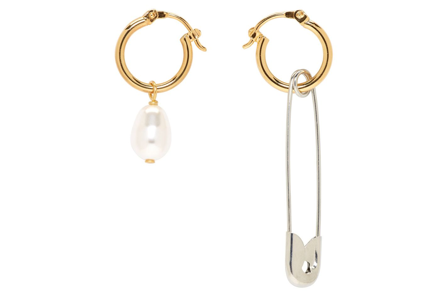 Alexa Chung Gold Safety Pin & Pearl Hoop Earrings