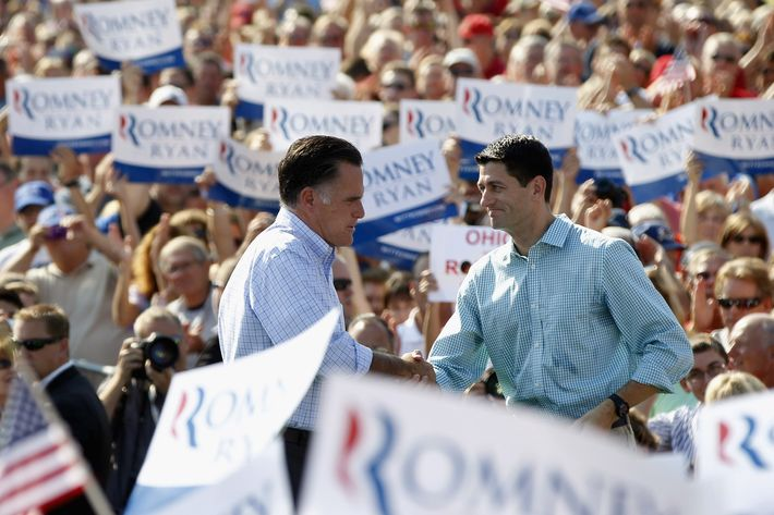 COLUMBUS GROVE, OH - AUGUST 25:  Presumptive Republican presidential nominee, former Massachusetts Governor Mitt Romney, and Vice Presidential running mate U.S. Rep. Paul Ryan (R-WI) attend a rally with supporters on August 25, 2012 in Columbus Grove, Ohio. Romney and Ryan are campaigning together leading up to the Republican National Convention beginning August 27 in Tampa, Florida. (Photo by Matt Sullivan/Getty Images)