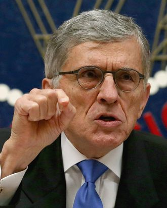 WASHINGTON, DC - FEBRUARY 26: Federal Communications Commission Chairman Tom Wheeler speaks before voting on Net Neutrality at the FCC headquarters February 26, 2015 in Washington, DC. Today the FCC voted to approve Net Neutrality regulating Internet service like a public utility, prohibiting companies from paying for faster lanes on the Internet. (Photo by Mark Wilson/Getty Images)