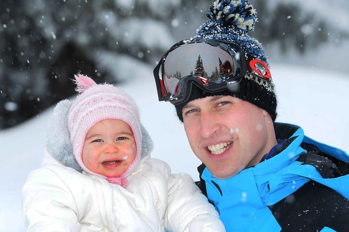 The snow baby with Prince William earlier this year. Photo: John Stillwell - WPA Pool/Getty Images