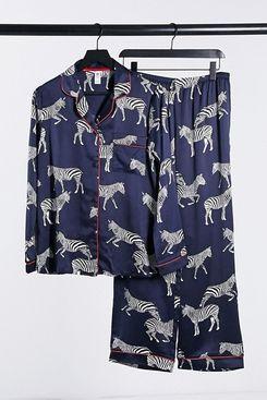 Chelsea Peers Premium Satin Zebra Printed Long Revere Pyjama Set