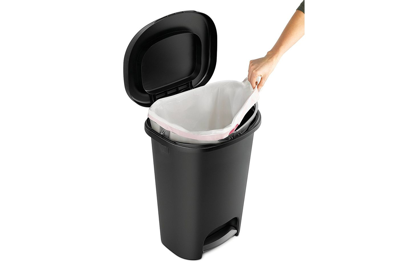 Rubbermaid Step-On Wastebasket, 13 Gallon — Black