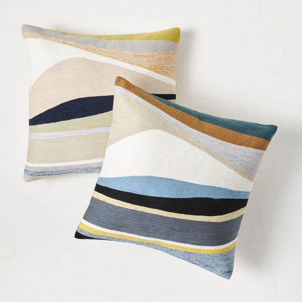 West Elm Crewel Landscape Pillow Cover