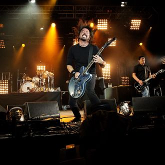 CARLISLE, ENGLAND - MAY 14: (UK TABLOID NEWSPAPERS OUT) Dave Grohl of The Foo Fighters performs at Radio 1's Big Weekend 2011 at Carlisle Airport on May 14, 2011 in London, England. (Photo by Dave Hogan/Getty Images)