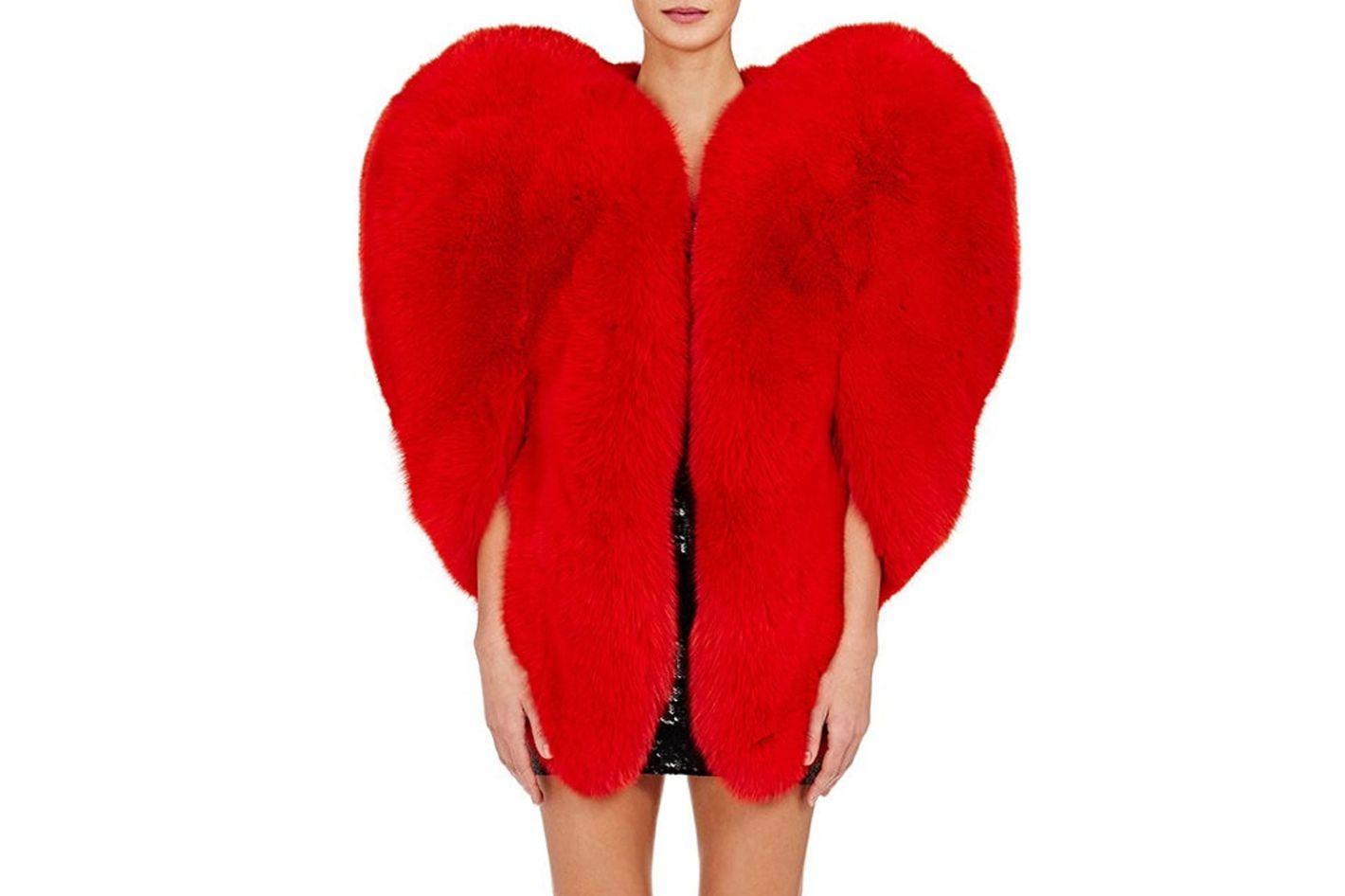 Saint Laurent fur heart-shaped cape