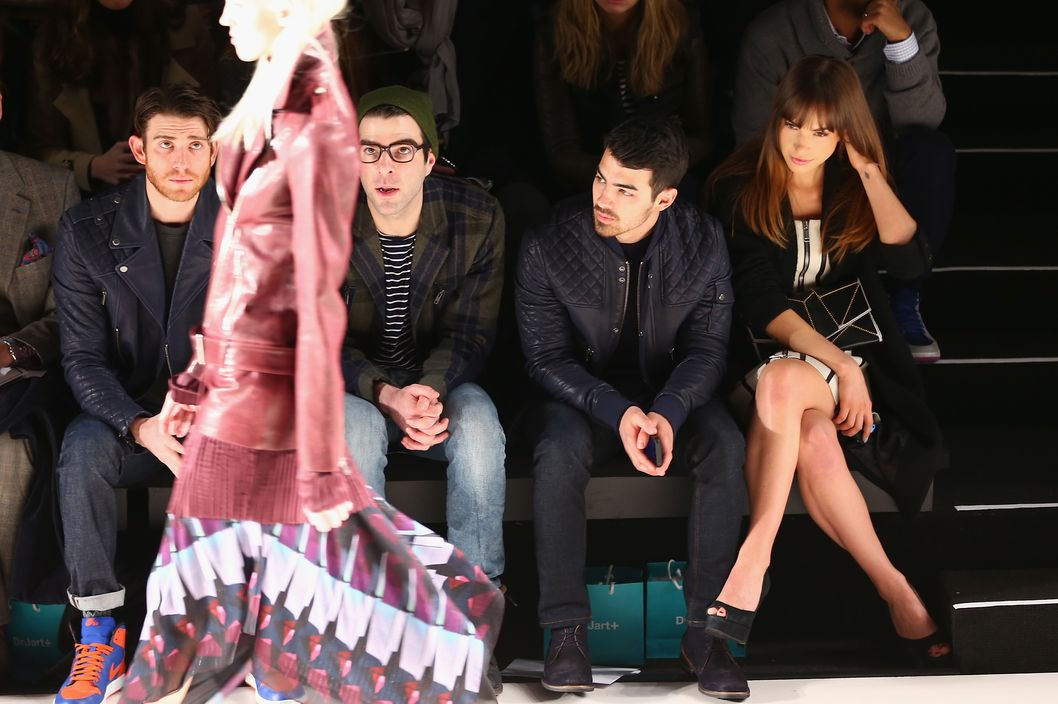 NEW YORK, NY - FEBRUARY 06:(L-R)  Bryan Greenberg,Zachary Quinto, Joe Jonas, Blanda Eggenschwiler attend Richard Chai fashion show during Mercedes-Benz Fashion Week Fall 2014 at The Salon at Lincoln Center on February 6, 2014 in New York City.  (Photo by Astrid Stawiarz/Getty Images For Mercedes-Benz Fashion Week)