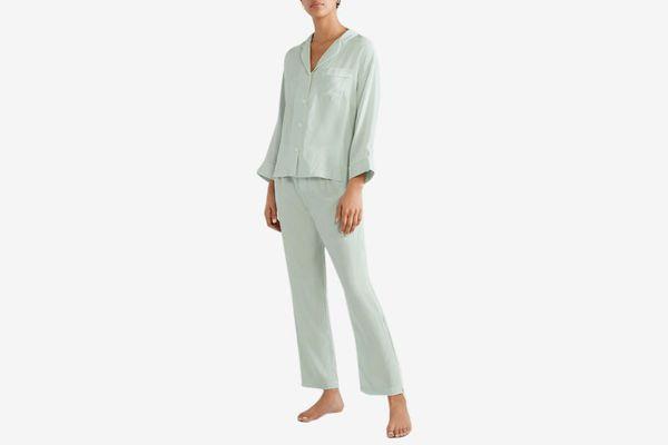 Sleepy Jones Silk Satin Pajama Shirt