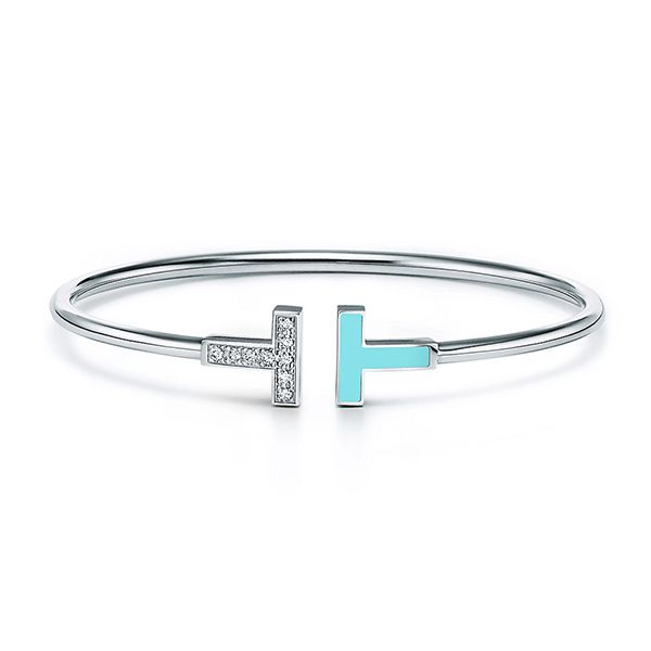Tiffany T Diamond and Turquoise Wire Bracelet