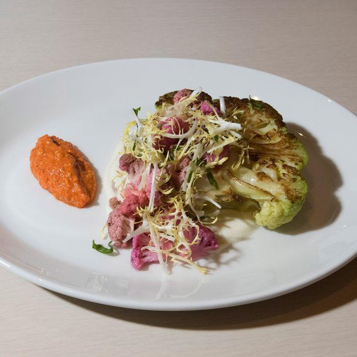 Cauliflower steak with romesco and vegetable chutney.