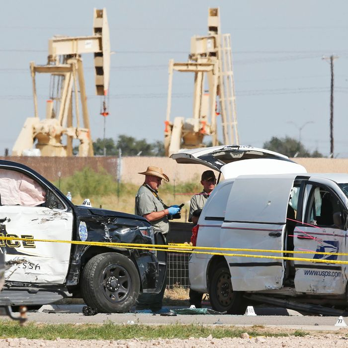 The scene near Midland and Odessa, Texas, after a mass shooting on August 31.