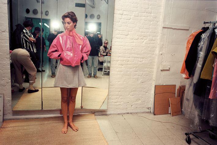 Christy Turlington in Isaac Mizrahi's studio.