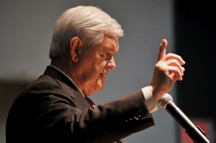 Republican presidential hopeful Newt Gingrich speaks at a Republican Jewish Coalition rally January 27, 2012 in Delray Beach, Florida.     AFP PHOTO / Stan HONDA (Photo credit should read STAN HONDA/AFP/Getty Images)