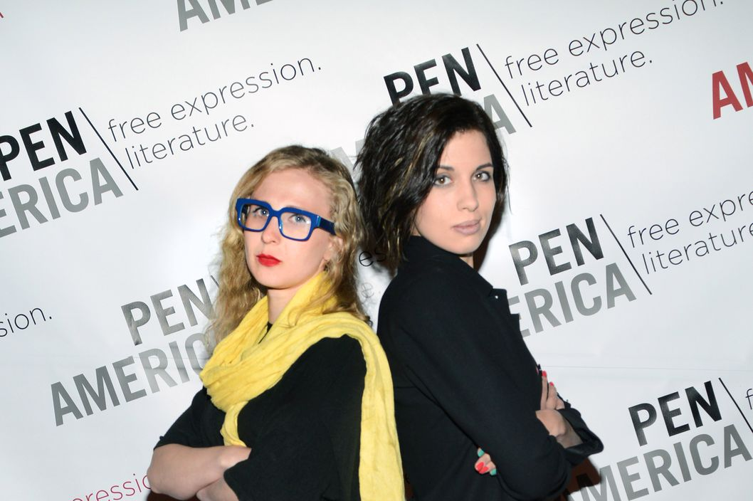 Masha Alyokhina and Nadya Tolokonnikova of Pussy Riot attend 2014 PEN/Allen Foundation Literary Service awards at American Museum of Natural History on May 5, 2014 in New York City.