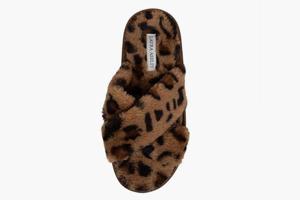 Laura Ashley Ladies Animal Leopard Plush Cross Band Slippers