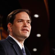 WASHINGTON, DC - MAY 10:  Sen. Marco Rubio (R-FL) speaks during a news conference where he and other Republican Senators introduced a balanced budget proposal at the U.S. Capitol May 10, 2011 in Washington, DC. The proposal will balance the federal budget by 2020, according to its author Sen. Pat Toomey (R-PA).  (Photo by Chip Somodevilla/Getty Images)