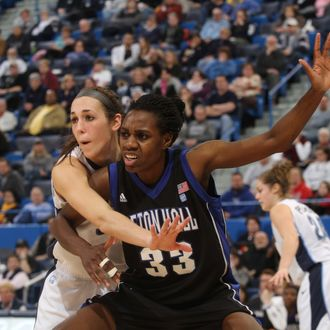 Tajay Ashmeade, #33 center of the Seton Hall Pirates posts up down low against the Villanova University Wildcats during the Big East Conference Women's Basketball Championships on March 2, 2012.