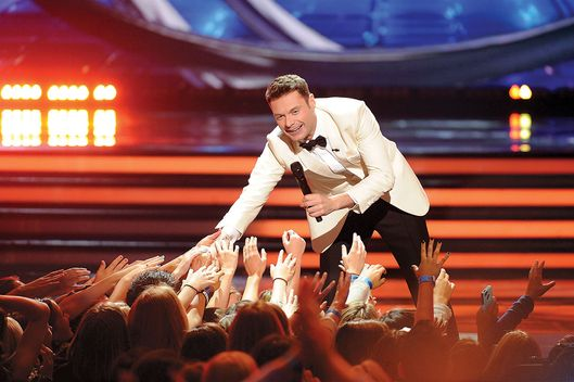 "HOLLYWOOD, CA - MAY 20: Host Ryan Seacrest onstage at FOX's ""American Idol XIII"" Top 2 Live Performance Show on May 20, 2014 at Nokia Theatre L.A. Live in Los Angeles, California. (Photo by FOX via Getty Images)"