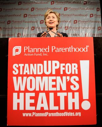 U.S. Presidential candidate Clinton gathers at an event on planned parenthood in Washington