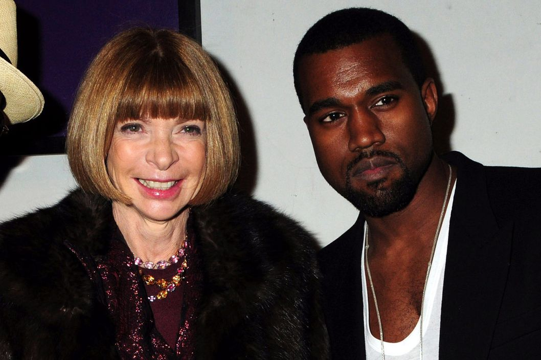 "Anna Wintour and Kanye West attend the ""Hi Panda"" Jiji's Sculptures Preview Cocktail Hosted by Antoine Arnault at the Palais De Tokyo  on January 26, 2010 in Paris, France."