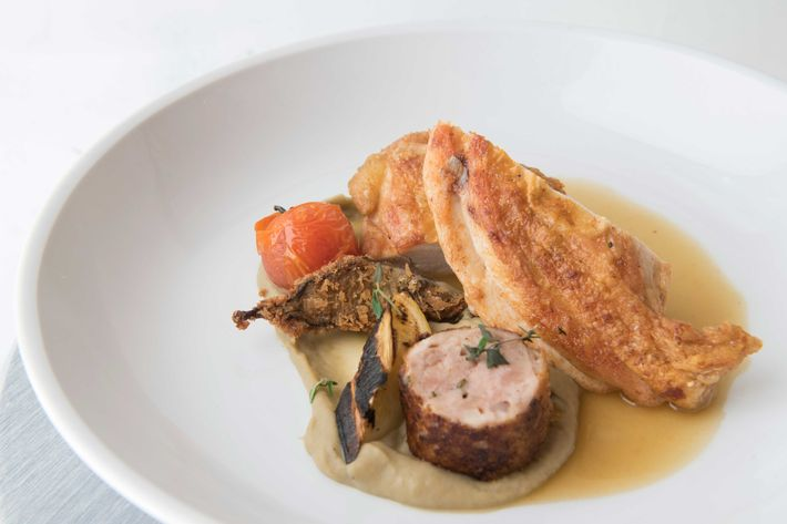 """Heritage chicken with a """"ratatouille"""" and eggplant purée."""